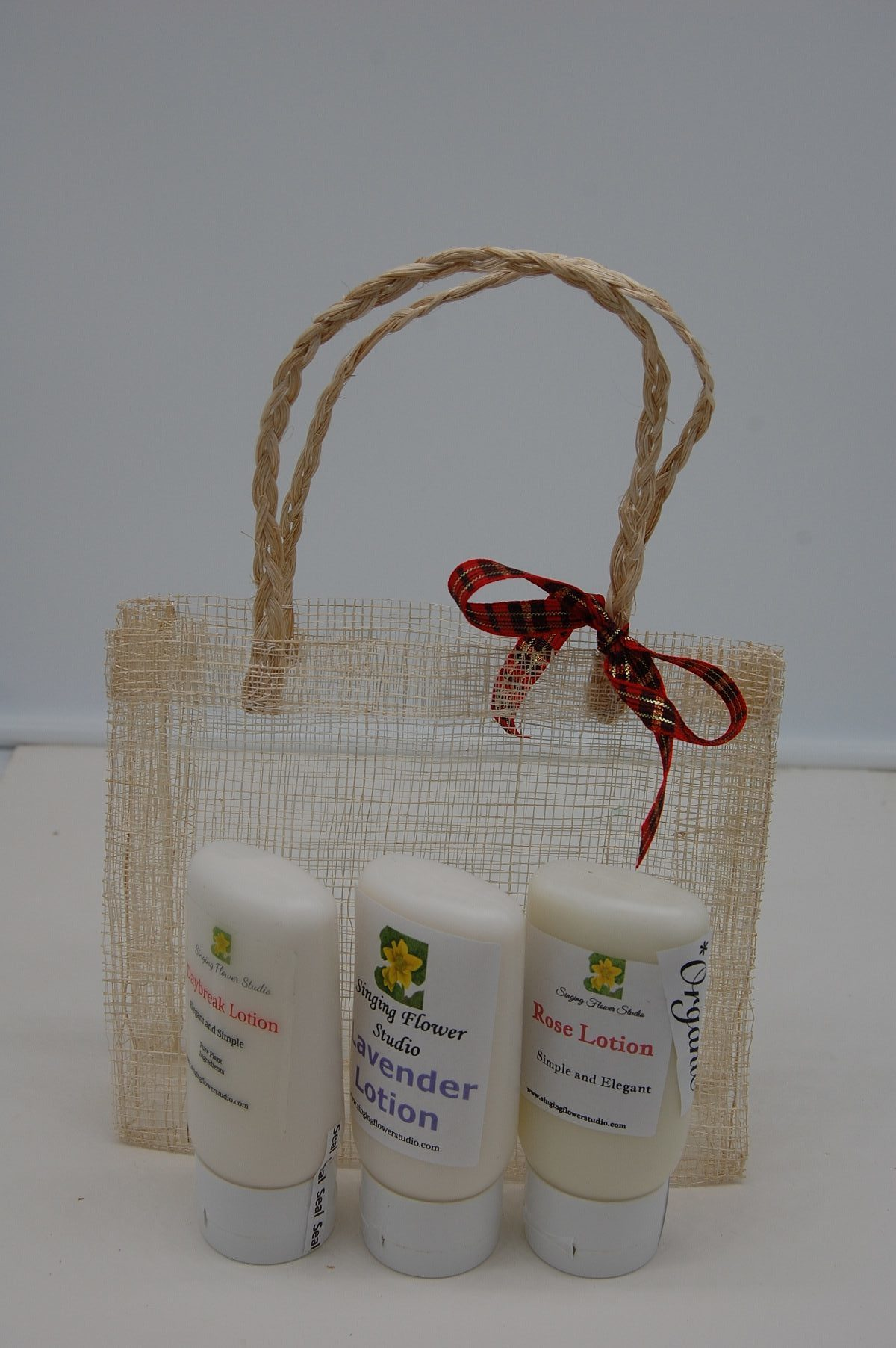 Lotion gift Basket in front